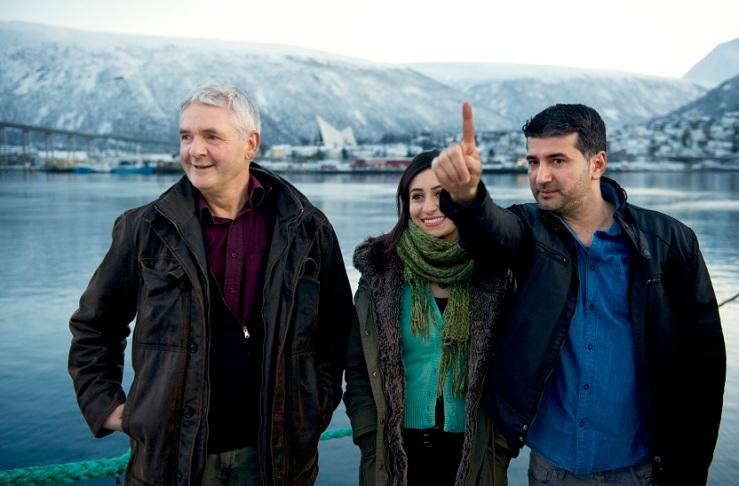 Før snøen faller. I Tromsø: manusforfatter Kjell Ola Dahl, skuespiller Bahar Özen og regissør Hisham Zaman. Foto: Ingun A Mæhlum/ Tromsø International Film Festival