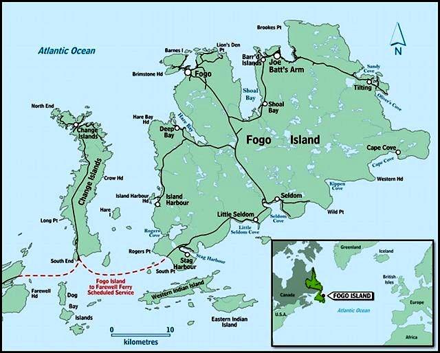 Kart over Fogo Island, hentet fra kommunens nettsted.