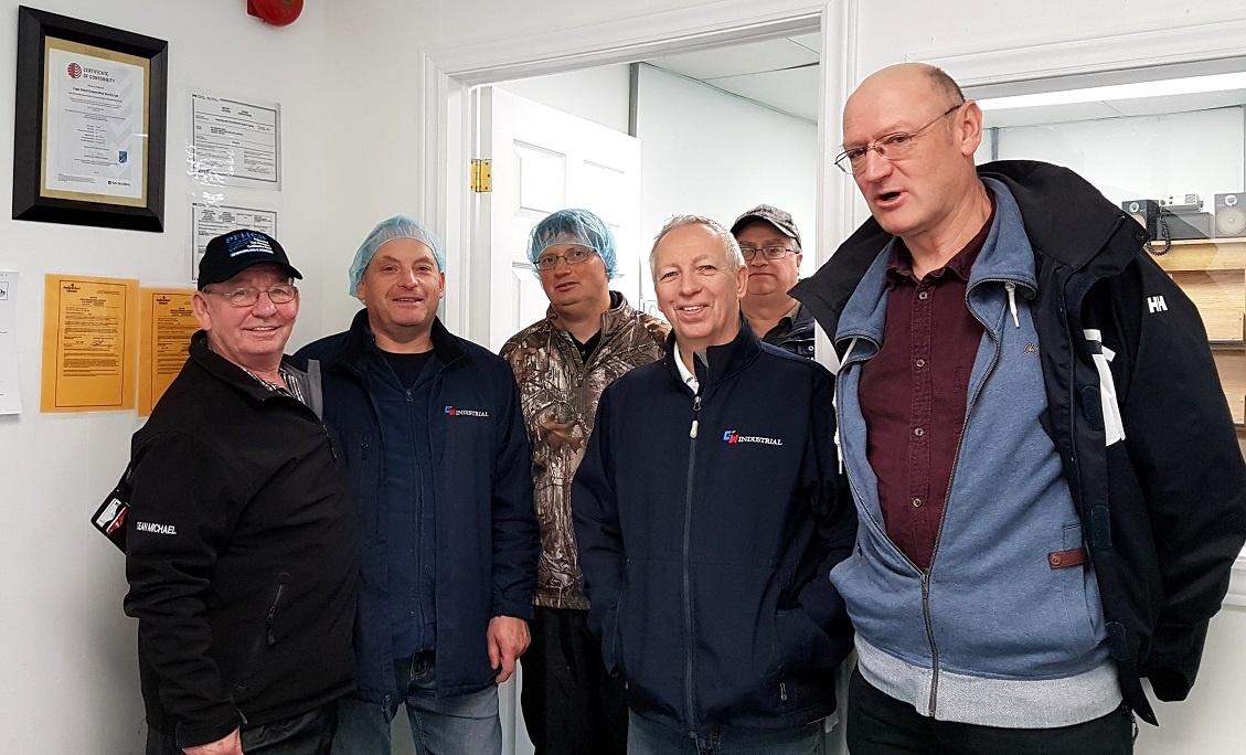 At Fogo Island Fisheries Co-op. Far left, local fisherman Aubrey Payne. To the right, Jahn Petter Johnsen from The Norwegian College of Fishery Science in Tromsø, Norway. Photo: Hilde Kat. Eriksen